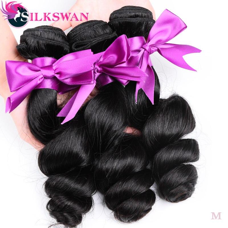Где купить Silkswan, свободные волнистые волосы, пучки 30, 32, 34, 36 дюймов, бразильские волосы, двойные, уток, человеческие волосы Remy для наращивания