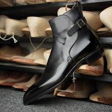 Botas masculinas de alta qualidade de couro do plutônio botas de salto baixo moda tendência primavera tornozelo botas retro clássico masculino casual roman botas zq0096