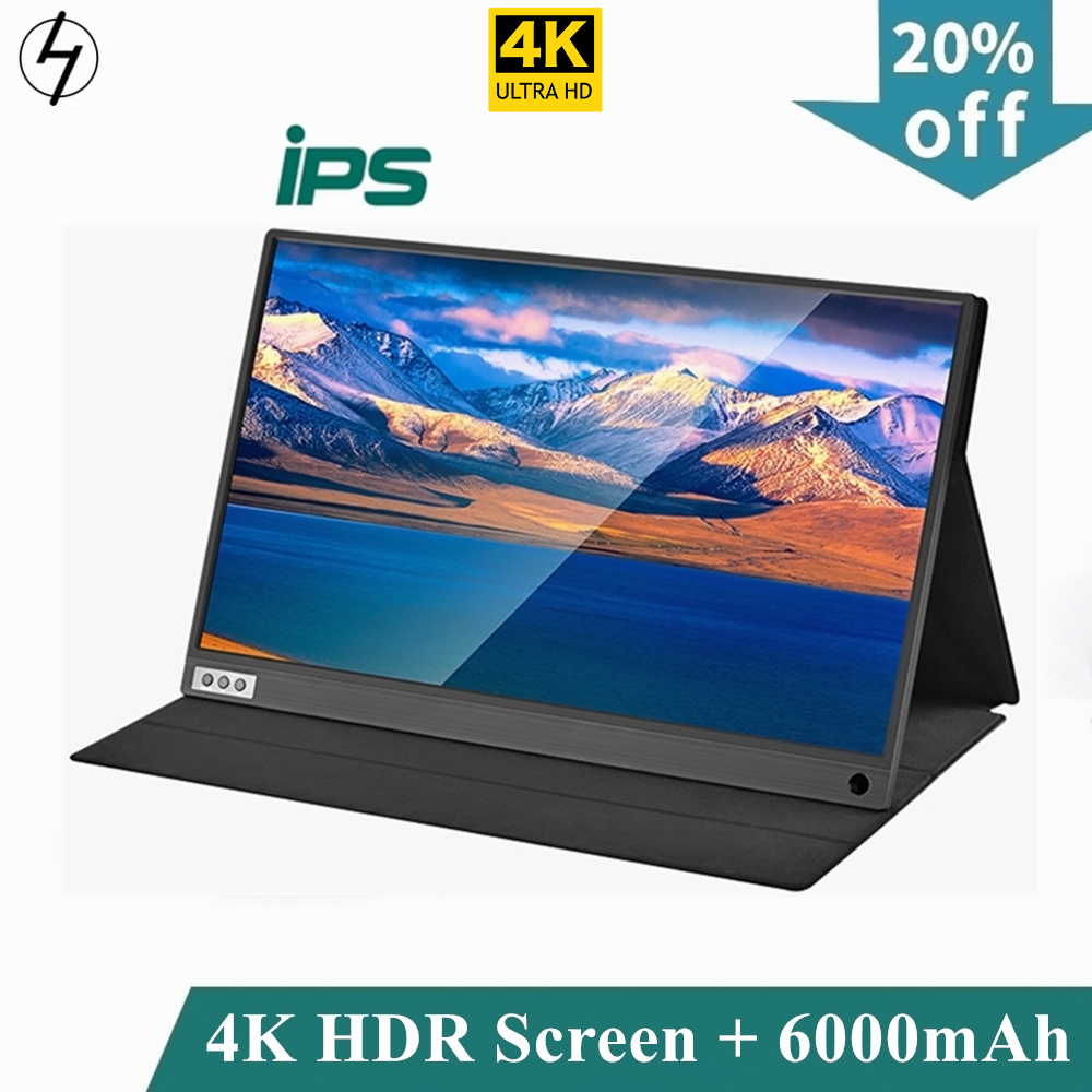LHMZNIY thin portable lcd HD 4K monitor 15.6 usb type c hdmi for laptop,phone,xbox,switch and ps4 portable lcd gaming monitor image