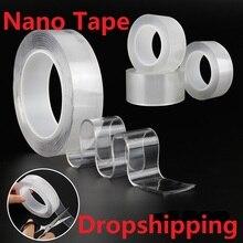 1/2/3/5 м многоразовый двойной клейкая поверхность с двух сторон Nano лента, Не оставляющий следов надежный дизайн лента-липучка «Magic Tape» снимающиеся наклейки толщиной 1 мм для дропшиппинг
