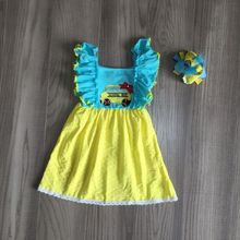 baby girls summer dress girls back to school dress school bus dress girls blue yello dress girls boutique dress with bow cheap girlymax COTTON Knee-Length Crew Neck REGULAR Short Casual Fits true to size take your normal size PATTERN BTS-QZ-319123