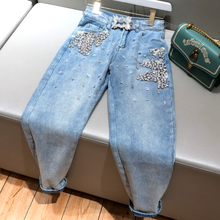 2020 spring autumn beading jeans women heavy work diamond se