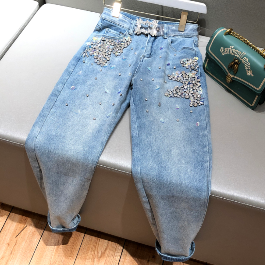 2020 Spring Autumn Beading Jeans Women Heavy Work Diamond Sequined Loose Cross Jeans