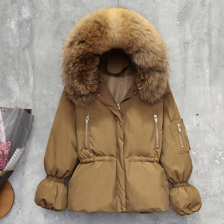 Duck White Down Jacket Woman Hooded Racoon Fur Collar Winter Coat Womens Down Jackets Brands Parka Chaqueta Mujer KJ493 S