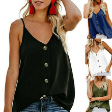 цена на Summer Women Sleeveless Chiffon Button Tank Top Vest Soft Cami Tops