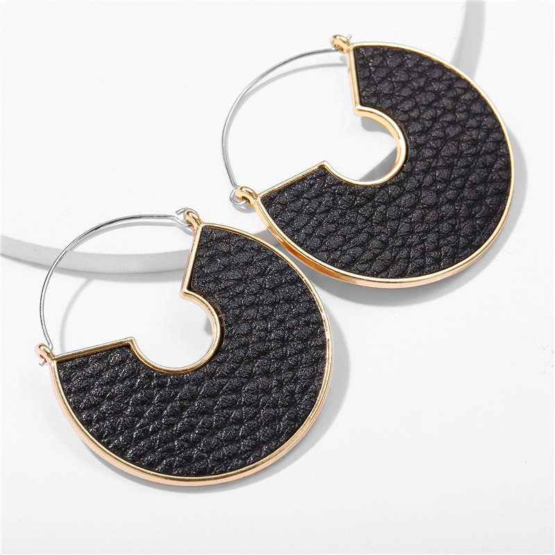Hfa699c36f14b490aaa7eb87abe7aa6b0j - IF ME Fashion Leather Circle Hoop Earrings Big Round Korean Earring Alloy Metal Red Colorful Brincos 2020 New Jewelry Gift