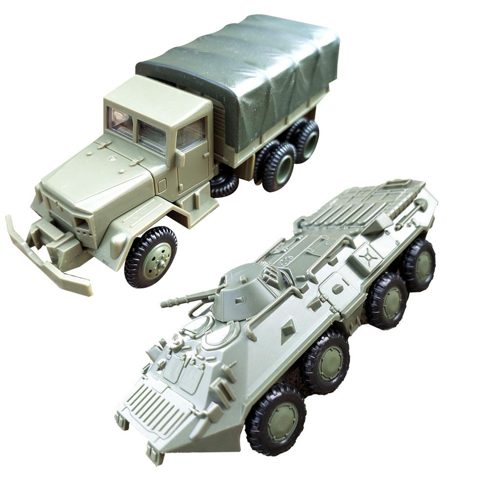 2Pcs/Set 1/72 M35 Truck BTR-80 Cavalry Carrier Model DIY Assembly Craft Kids Toy Model Militarial Toy Car Gifts