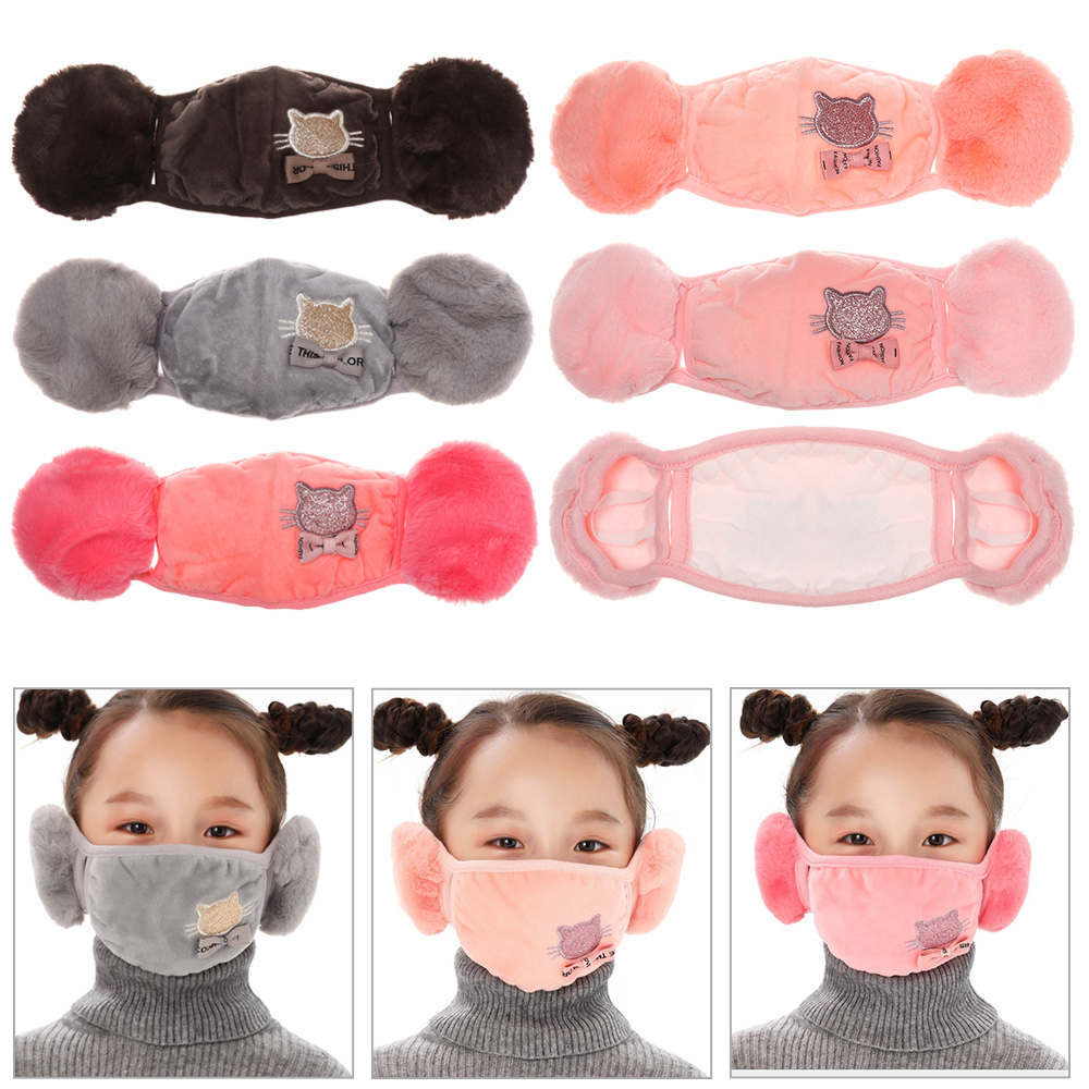 Winter Plush Mask Earmuffs Children 2 in 1 Mouth muffles Ear cap Student Cartoon Cat Earflap Outdoor Warm Earmuffs Face Cover|Men