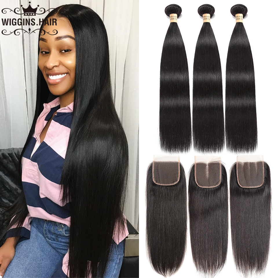 Wiggins Straight Hair Hair-Extension Closure Lace Swiss 3-Bundles 100%Human-Hair-Bundles title=