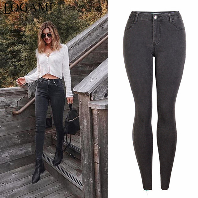 Skinny and Pencil Jeans in dark gray