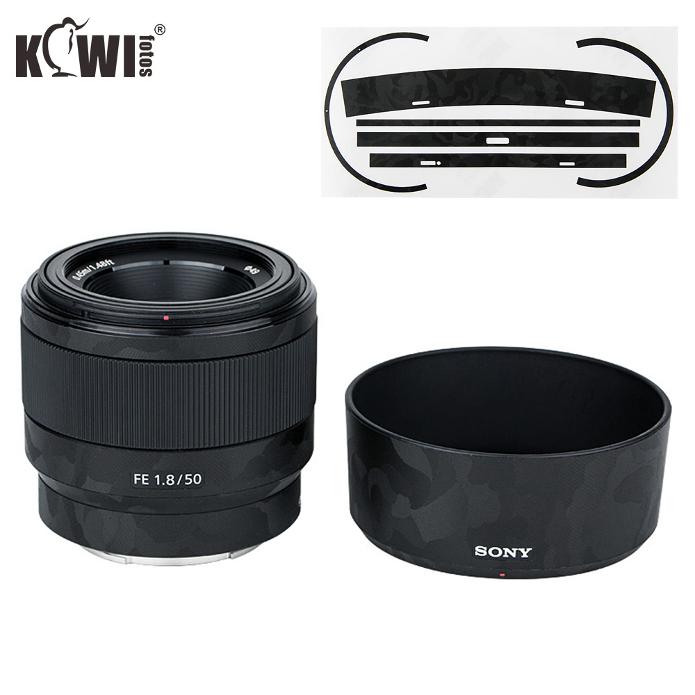 Anti-Scratch Camera Lens Skin Film Kit For Sony FE 50mm F1.8 (SEL50F18F) Lens & ALC-SH146 Lens Hood 3M Sticker Protector
