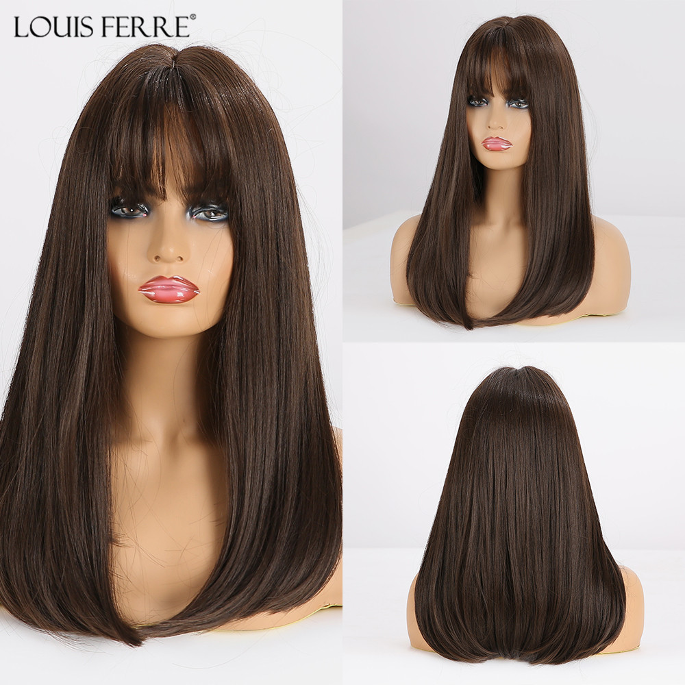 LOUIS FERRE Long Straight Black Brown Synthetic Wigs With Bangs For Women African American Cosplay Hair Wig Heat Resistant Fibre
