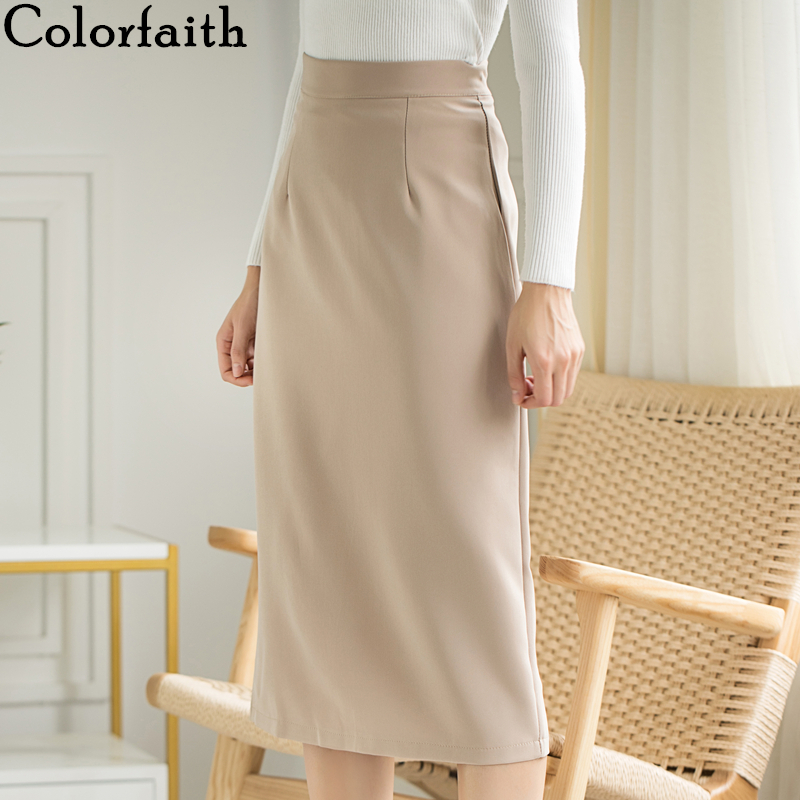Colorfaith New 2019 Autumn Winter Women Skirt Midi Straight Package Hip Elegant Office Lady Fashionable Female Skirts SK6091