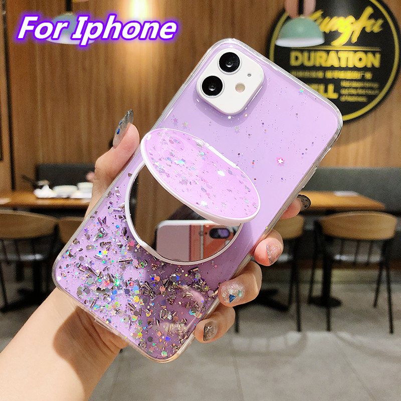 Epoxy Glitter Starry Sky <font><b>Makeup</b></font> Mirror Soft Phone <font><b>Case</b></font> For <font><b>iphone</b></font> 11 Pro Max 7 8 6 <font><b>6S</b></font> <font><b>Plus</b></font> X XS XR XS MAX SE 2020 Back Cover image