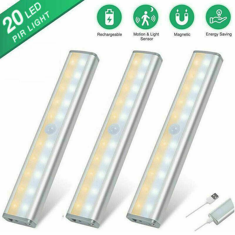20 LED Kitchen Cupboard Shelf Counter Strip Lights Wireless Motion Sensor Closet Lights USB Rechargeable Under Cabinet Light