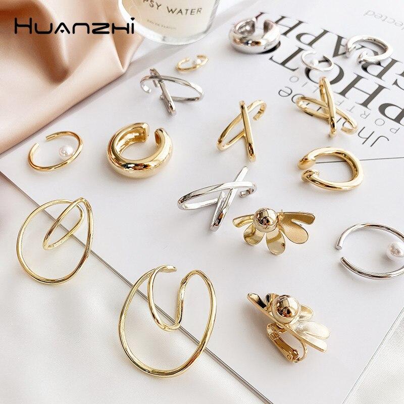 HUANZHI2020 New Design Metal Ear Cuff Earrings Without Piercing Geometric Minimalist Cartilage Earrings For Women Girls Jewelry