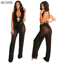Mesh See Through Hoodies Deep V Neck Rompers Womens Jumpsuit Wide Leg Long Pants Backless Overalls Sexy Club Wear Transparent
