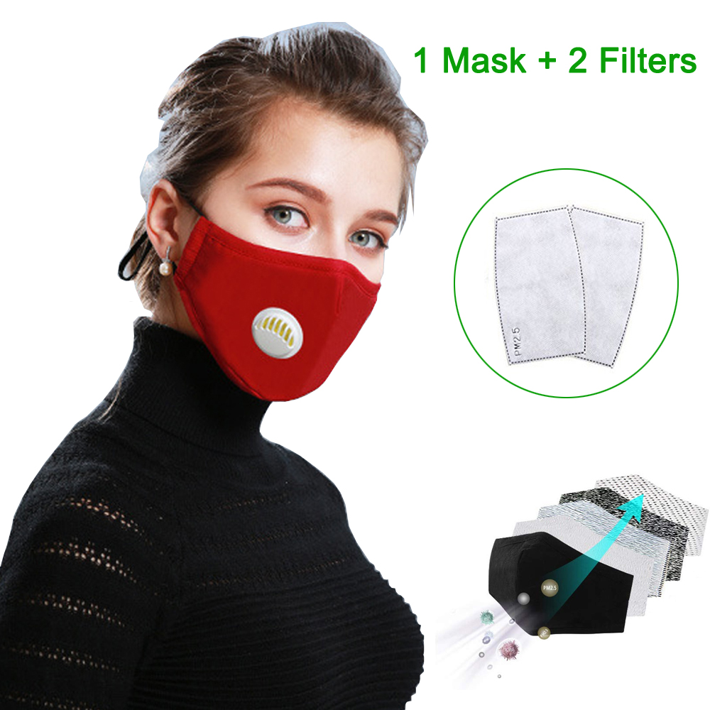 Fashion Unisex Cotton Breath Valve PM2.5 Mouth Mask Anti-Dust Anti Pollution Activated Carbon Filter Respirator Mouth-muffle