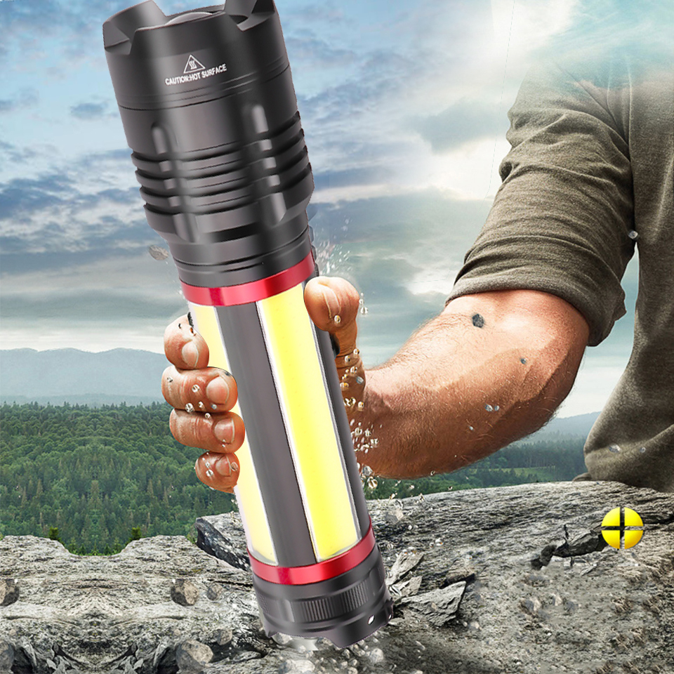XHP90 built in battery Camping led flashlight usb charging Stretch zoom Powerful rechargeable power bank flashlight torch