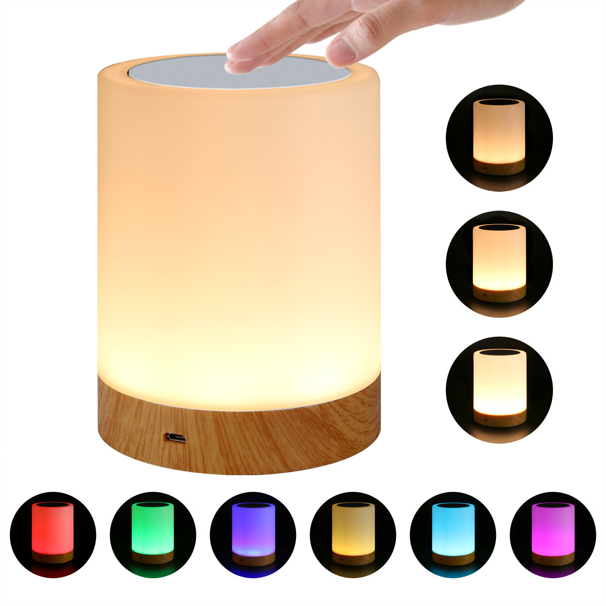 LED New Style Seven Color Creative Wood Grain Charging Small Night Lamp Bedside Light Table Lamps Touch Pat Ambience Lighting
