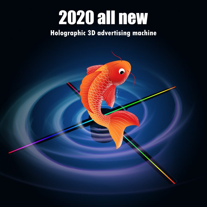 2020 3D60 3D Hologram Projector Light Advertising Display LED Fan Holographic Imaging Lamp 3D Remote Hologram Player