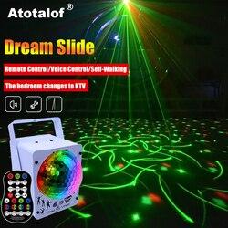 Atotalof RGB Luz de escenario 60 patrones Proyector láser sonido activado Bola de discoteca efecto de iluminación para Navidad KTV boda