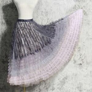 Женская сетчатая юбка TWOTWINSTYLE, с высокой талией и ассиметричными оборками