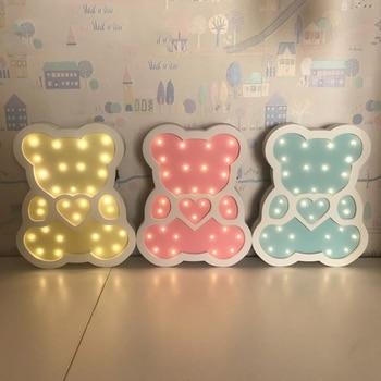ABSS-Wooden Bear Led Night Light Cartoon Bedside Wall Lamp Children Baby Kids Bedroom Home Decorative Lighting