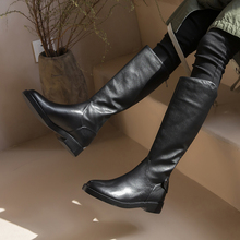 Plus Size 34-43 Knee High Winter Fur Boots Over The Women Soft Genuine Leather Zipper Warm Shoes