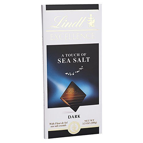 Lindt Chocolate Bar Dark Chocolate 47 Percent Cocoa Excellence Touch Of Sea Salt 3.5 Oz Bars Case Of 12