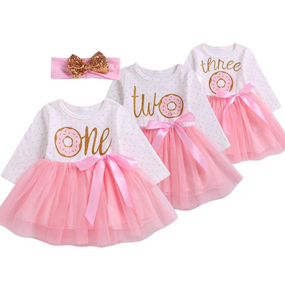 На день рождения для маленьких девочек платье принцессы для девочек платье для новорожденных 3 м во-первых 2 года 3rd для маленьких девочек, ко...