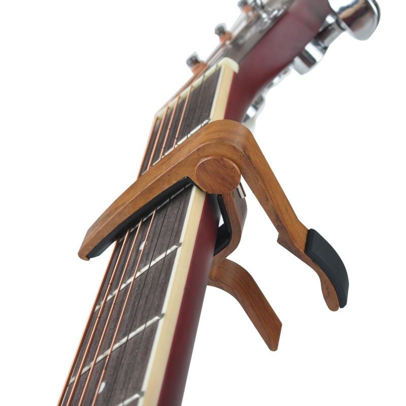 Capo de chitară metalică cu grâne din lemn, cu pernă de silicon - Instrumente muzicale - Fotografie 4