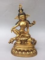 Chinese Pure Copper Carved Gold plated Buddha Statues Lotus Tiger Animal Statue Ward Off Evil Spirits Buddhist Home Decoration