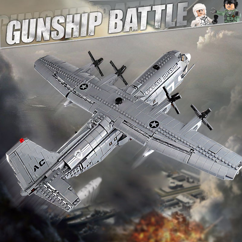 1713Pcs Military Building Blocks Air Gunship ACE-130 Plane Model  Toys For Children