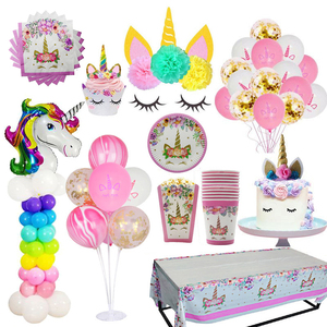 Image 5 - Kids girl birthday party disposable cup plates happy birthday unicorn tableware set pink nice party supplies fiesta unicornio