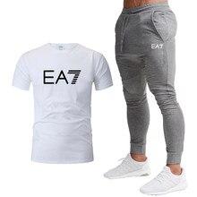 2021 hot Popular brand Tracksuit Sweatshirt Pants Summer Men's Cropped T Shirt Casual Suits Sportswear Men Clothing 2-piece set