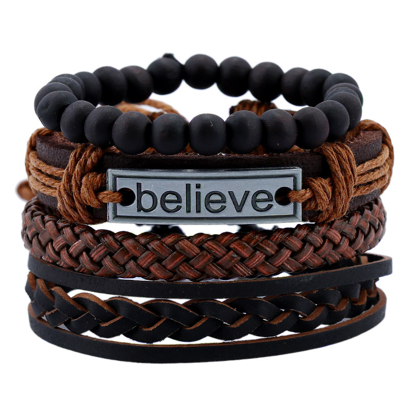 Leather multilayer bracelet for men with vintage alloy lettered handwoven bracelet for men with jewelry gift