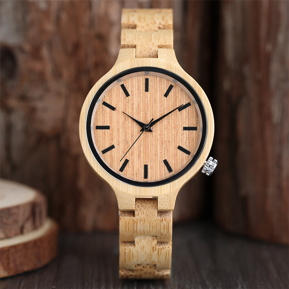 Wooden Watch Quartz Round Fashion Ladies Simple Elegant Reloj Bamboo Clasp Movement Folding