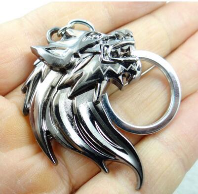 Wolf Head Silver Keychain Keyring
