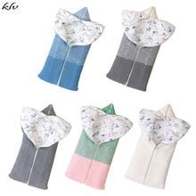KLV Newborn Baby Swaddle Blanket Soft Warm Wrap Knit Infant Stroller Zipper Sleeping Bag for Boys Girls