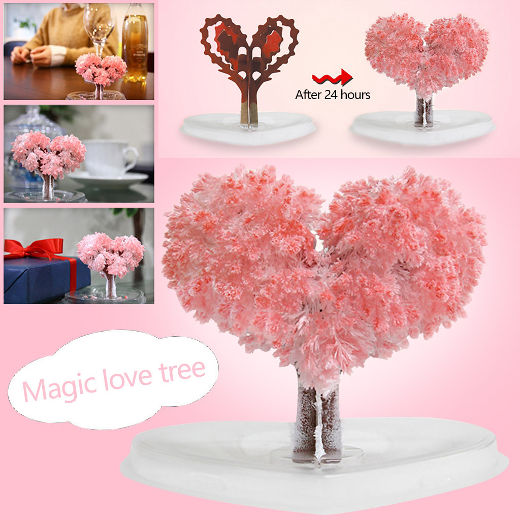 Heart-shaped Paper Tree Flowering Creative Colorful Magic Growing Tree Toy Craft Funny Kids Toys Juguetes Brinquedo игрушки