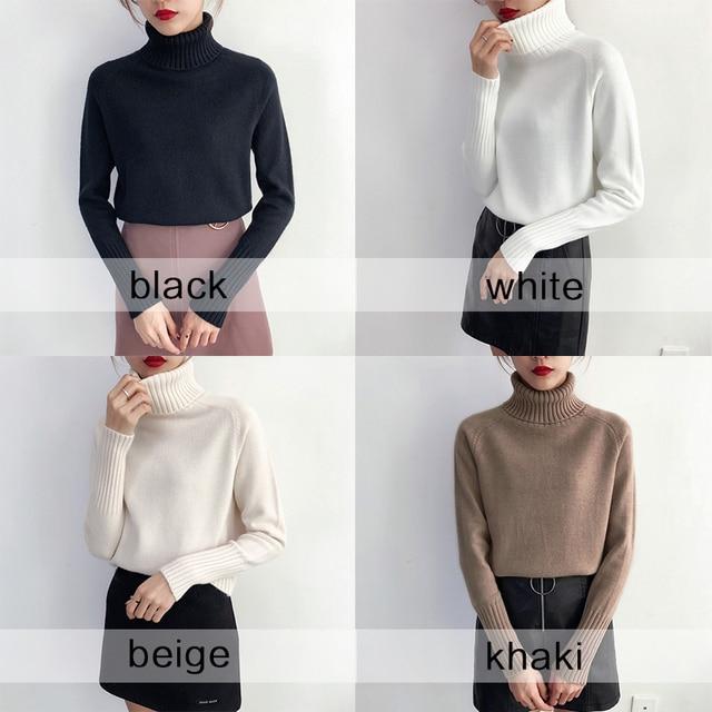 Женский кашемировый вязаный свитер с высоким воротником и длинным рукавом 5