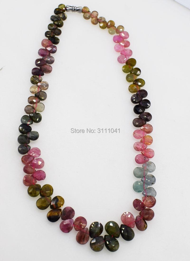 Tourmaline goutte à facettes 5-10mm multicolore AA collier 16 pouces en gros perles nature FPPJ femme 2018 - 4