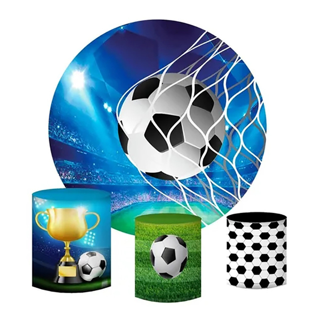 Football Circle Round Backdrop Sports Soccer Field Birthday Party Custom Backgrounds for Photo Studio Boys Baby Shower Photocall