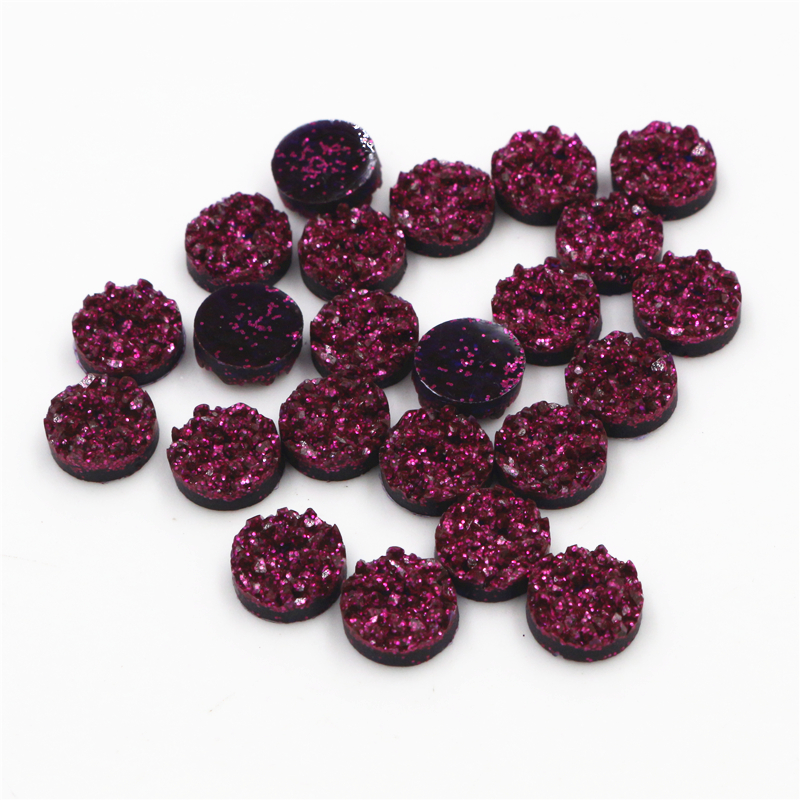 New Fashion 8mm 10mm 40pcs Dark Purple Red Colors Natural Ore Style Flat Back Resin Cabochons For Bracelet Earrings Accessories