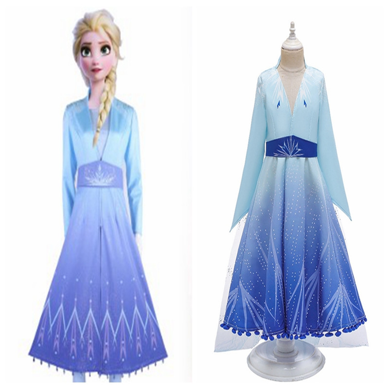 Queen Elsa Cosplay Froz 2 Anime Cosplay Costume Halloween Dress Adult And Children's Clothes Carnival Party Dress Movie Elsa Cos