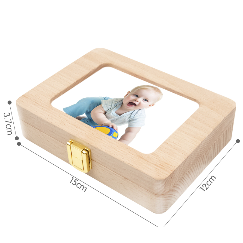 New baby solid wood tooth box / large - photo frame / tooth   collection box / growth commemorative deciduous box / hot sale
