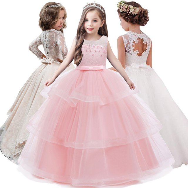 2020 Girls Dress Long Sleeve Bridesmaid Wedding Party Ball Gown Kids Dresses For Girls Elegant  Princess Dress Children Clothing|princess dresses for kids|dress for kids|princess dress - title=