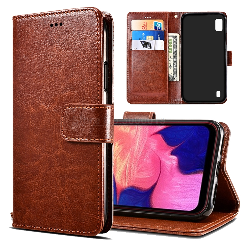 For Samsung A10 Case on SM-A105FD Flip 6.2 Leather Wallet Book for Galaxy A 10 A105 Cover