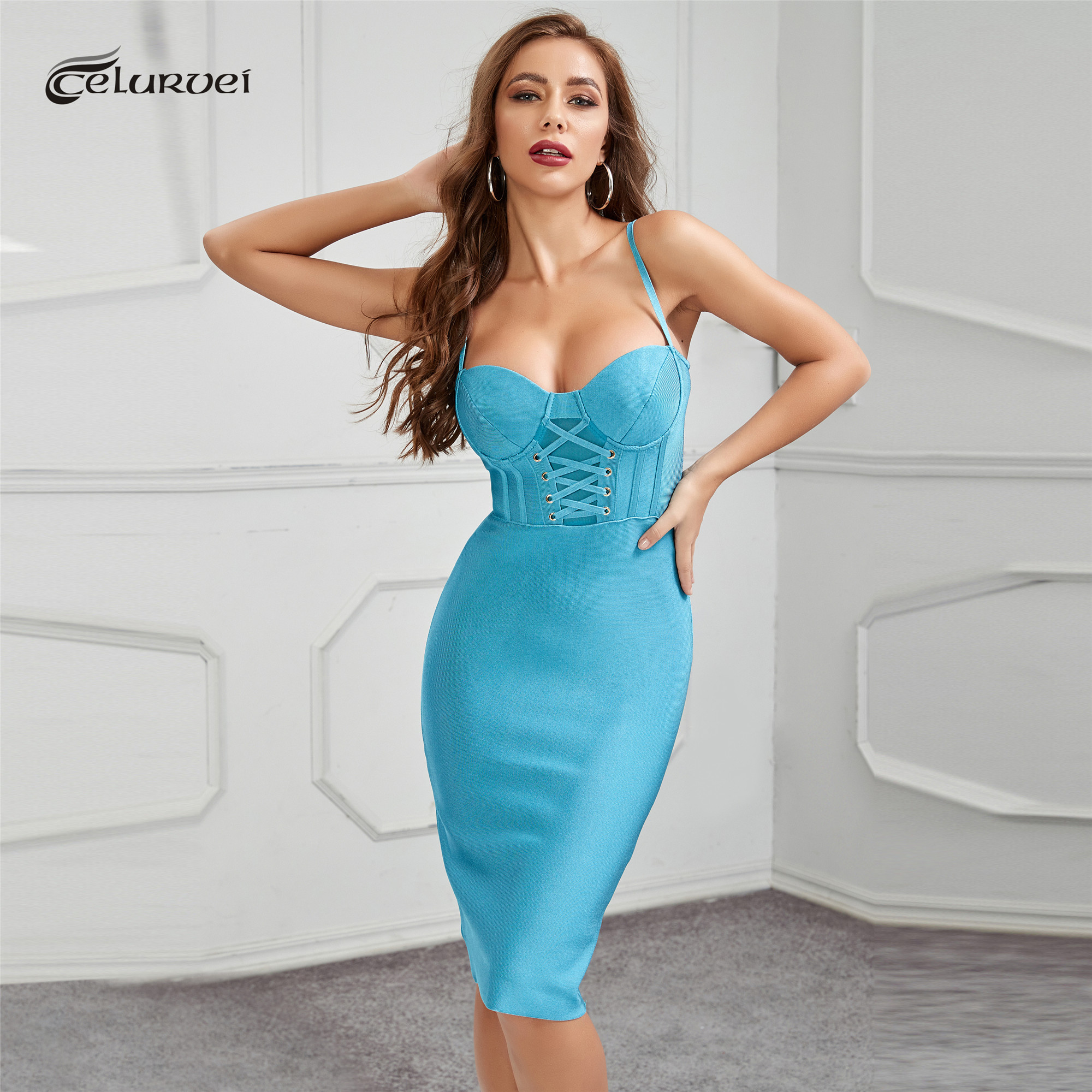 High Quality Blue Slip Bodycon Rayon Bandage Dress Club Party Elegant Dress|Dresses| - AliExpress